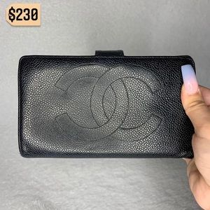 Chanel Black Caviar Leather Vintage Long Wallet
